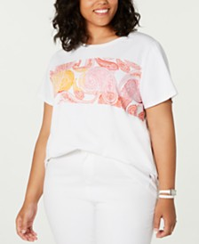 Tommy Hilfiger Plus Size Paisley-Graphic Top, Created for Macy's