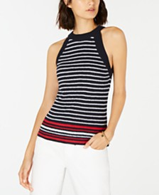 Tommy Hilfiger Striped Cotton Halter Sweater, Created for Macy's