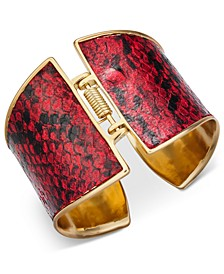 Gold-Tone & Red Animal Print Hinge Bracelet, Created for Macy's