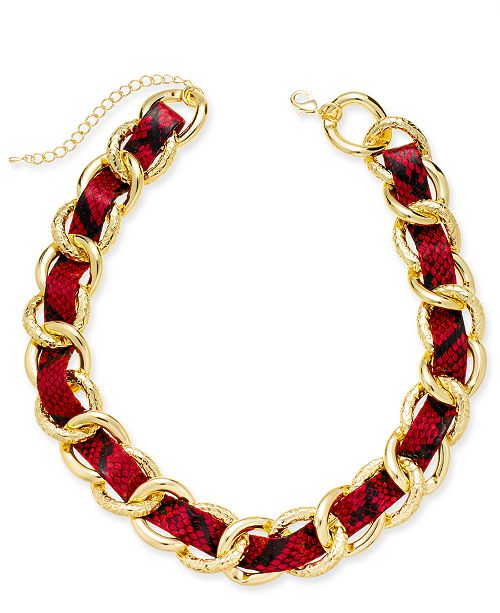 "Thalia Sodi Gold-Tone Animal Print Woven Chain Link 18"" Statement Necklace, Created for Macy's"