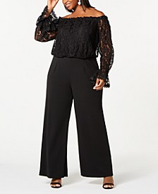 Plus Size Off-The-Shoulder Lace Jumpsuit