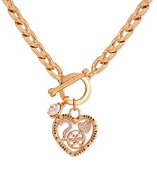 "GUESS Gold-Tone Crystal Heart 18"" Pendant Necklace"