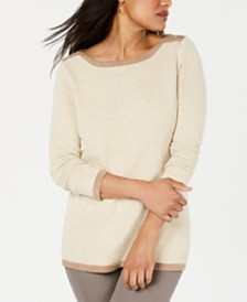 Karen Scott Cotton Contrast-Trim Sweater, Created for Macy's