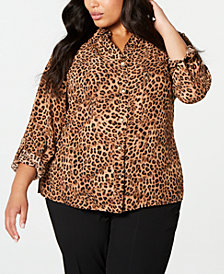 Charter Club Plus Size Animal-Print Shirt, Created for Macy's