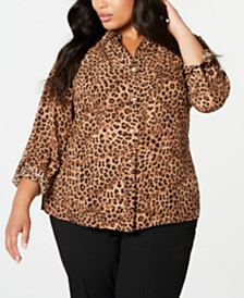 Charter Club Plus Size Animal-Print Shirt, Created for Macy's