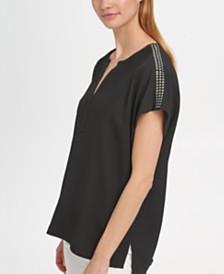 DKNY Embellished-Shoulder V-Neck Top