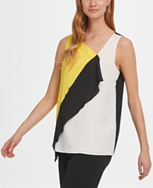 DKNY Colorblocked Asymmetrical Ruffle-Front Top