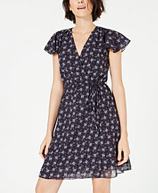 French Connection Agata Flutter-Sleeve Faux-Wrap Dress