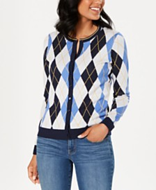 Charter Club Argyle Knit Cardigan, Created for Macy's