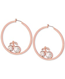 GUESS Rose Gold-Tone Large Crystal Cherry Hoop Earrings 2""