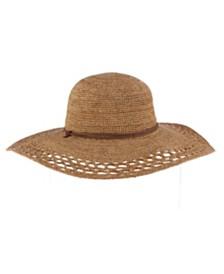 Scala Crochet Raffia Big Brim Hat with Chin Cord