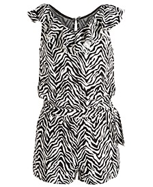 Big Girls Zebra-Print Wrap Romper, Created for Macy's
