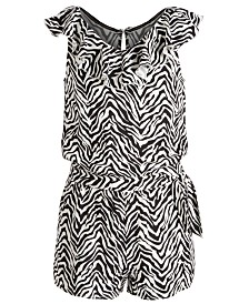 Epic Threads Big Girls Zebra-Print Wrap Romper, Created for Macy's