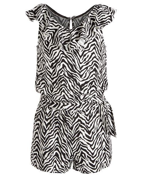 Epic Threads Big Girls Zebra-Print Wrap Romper, Created for Macy's