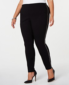 I.N.C. Plus Size Studded Tuxedo Skinny Pants, Created for Macy's