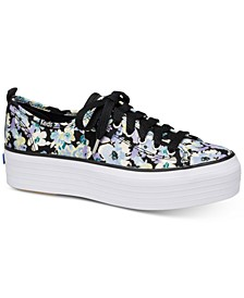 Triple Up Floral Lace-Up Sneakers