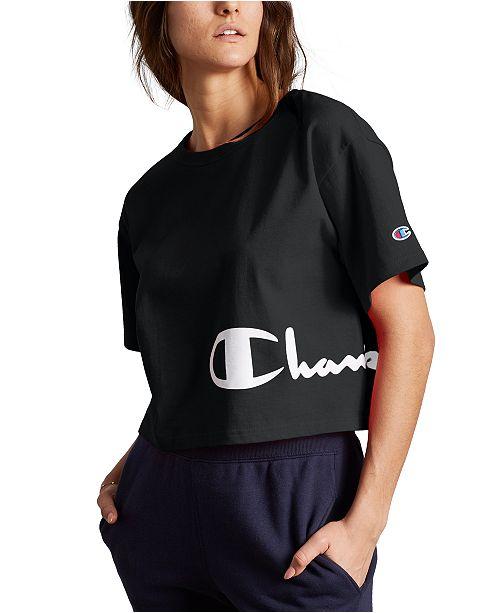 Champion Heritage Script-Logo Cropped T-Shirt