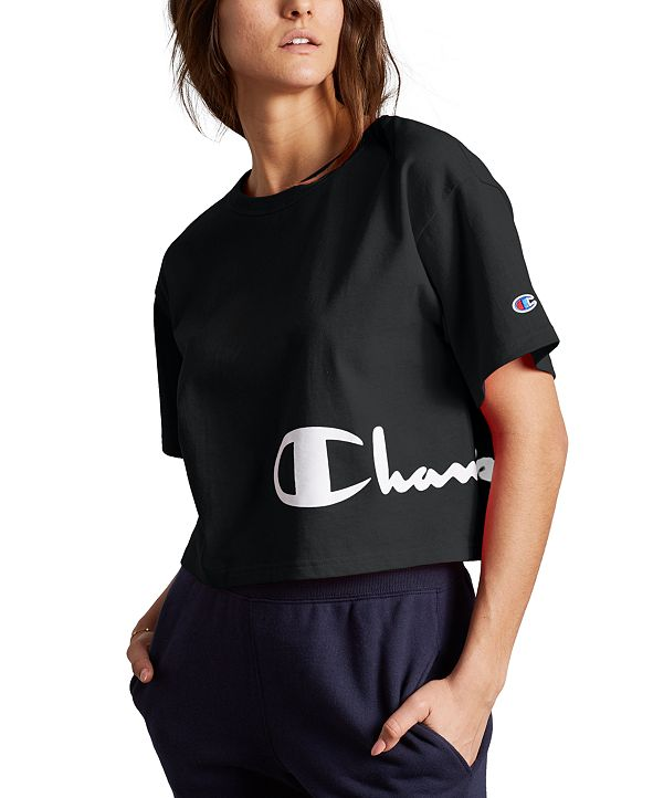 Champion Women's Heritage Script-Logo Cropped T-Shirt