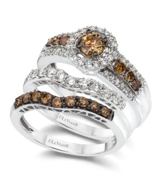 le vian diamond stackable rings in 14k white gold - Chocolate Wedding Ring