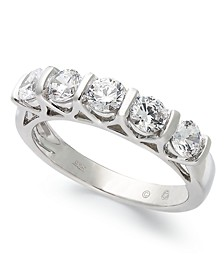 Certified Five-Stone Diamond Band Ring in 14k White Gold (1 ct. t.w.)