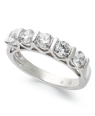 Certified Five Stone Diamond Band Ring in 14k White Gold 1 ct