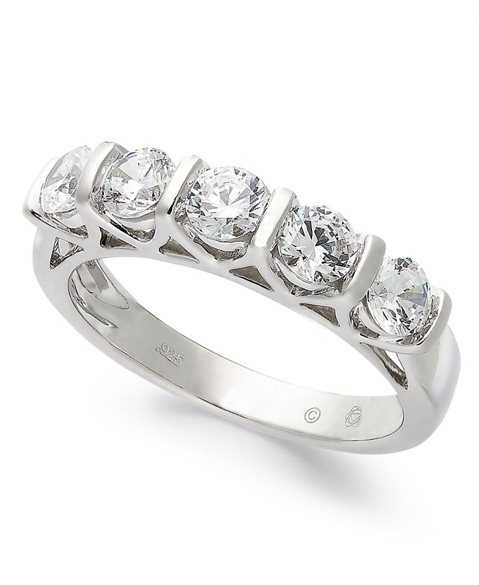 Macy's - Certified Five-Stone Diamond Band Ring in 14k White Gold (1 ct. t.w.)