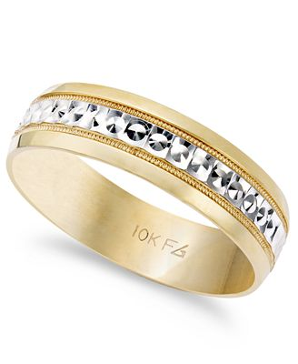 Mens 10k Gold And White Ring Two Tone Wedding Band 6mm