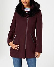 Juniors' Faux-Fur-Trim Hooded Coat