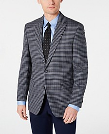 Men's Modern-Fit THFlex Stretch Light Gray/Blue Check Sport Coat