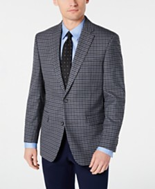 Tommy Hilfiger Men's Modern-Fit THFlex Stretch Light Gray/Blue Check Sport Coat