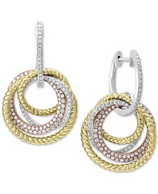 EFFY® Diamond Tri-Color Drop Earrings (1 ct. t.w.) in 14k Gold, 14k White Gold and 14k Rose Gold