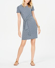 MICHAEL Michael Kors Printed Tie-Waist Dress, Regular & Petite Sizes