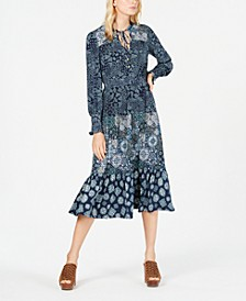 Multi-Print Peasant Dress, Regular & Petite Sizes