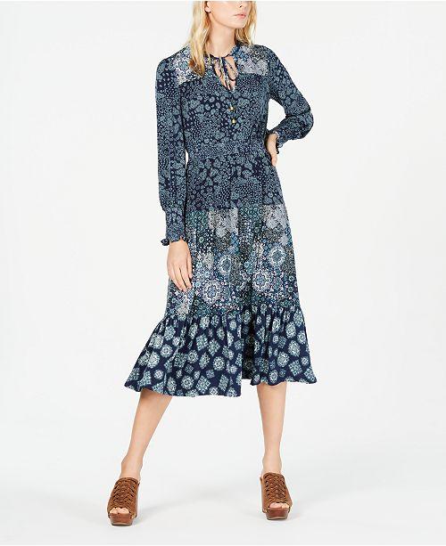 Michael Kors Multi-Print Peasant Dress, Regular & Petite Sizes