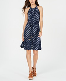 Michael Michael Kors Printed Halter Shift Dress