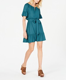 MICHAEL Michael Kors Ruffled Peasant Dress, Regular & Petite Sizes