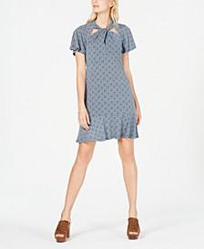 Printed Twist-Neck Dress