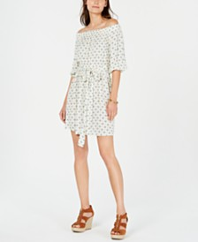 Michael Michael Kors Printed Off-The-Shoulder Peasant Dress
