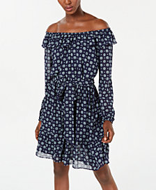 Michael Michael Kors Medallion-Print Peasant Dress, Regular & Petite Sizes