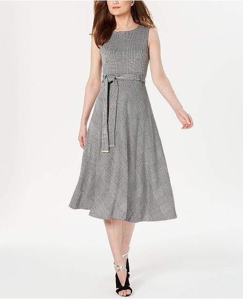 Calvin Klein Glen Plaid Belted Midi Dress