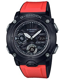 Men's Analog-Digital Red Resin Strap Watch 48.7mm