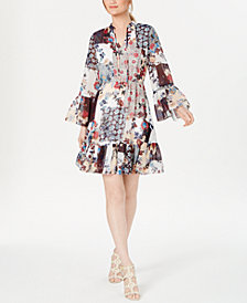 Calvin Kein Patchwork Flounce Dress