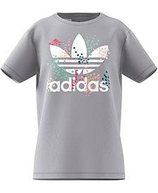 adidas Originals Big Girls Trefoil-Print Cotton T-Shirt