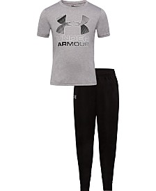 Under Armour Little Boys 2-Pc. UA Logo-Print T-Shirt & Pants Set