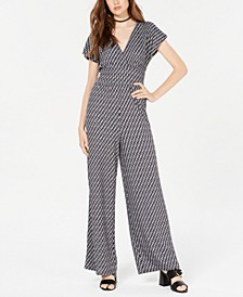 Juniors' Geo-Print Knit Jumpsuit