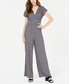 Be Bop Juniors' Geo-Print Knit Jumpsuit