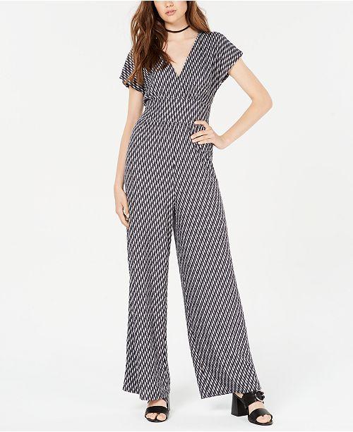 Be Bop Juniors' Geo-Print Knit Jumpsuit