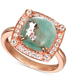 Peacock Aquaprase (10mm) & Vanilla Topaz (1/4 ct. t.w.) Statement Ring in 14k Rose Gold
