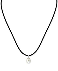 "EFFY® Cultured Freshwater Pearl (9mm) & Diamond Accent Black Leather Cord 16"" Pendant Necklace in 14k White Gold"