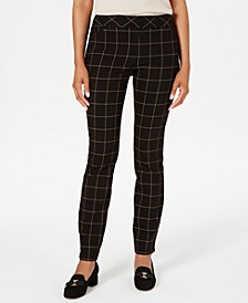 Petite Windowpane Plaid Pants, Created for Macy's